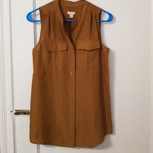 JCrew Button Down Tank Top with Pockets